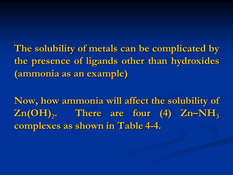 The solubility of metals can be complicated by the presence of ligands other than hydroxides (ammonia as an example)