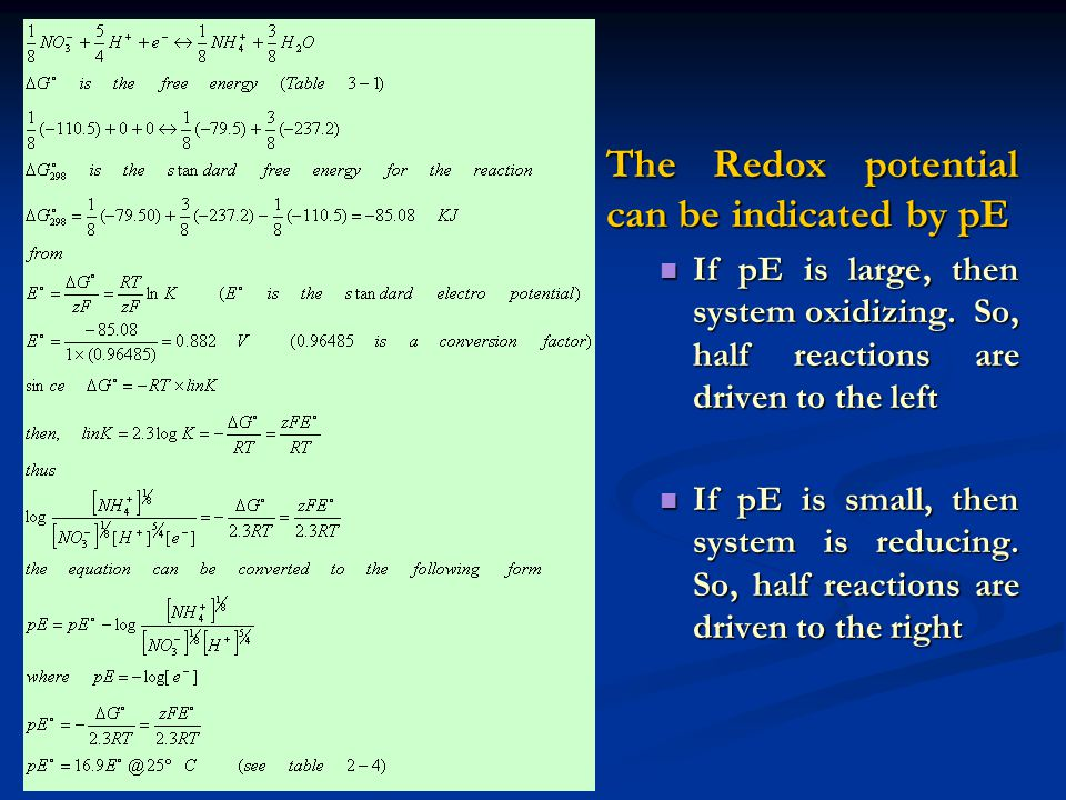 The Redox potential can be indicated by pE