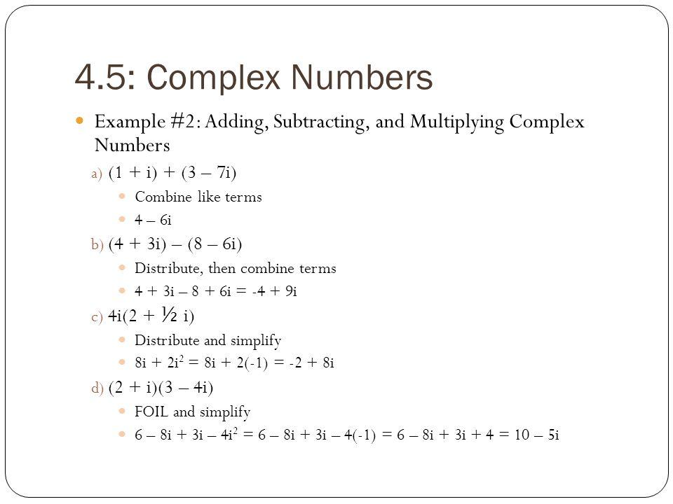 Complex numbers worksheet algebra 3 4