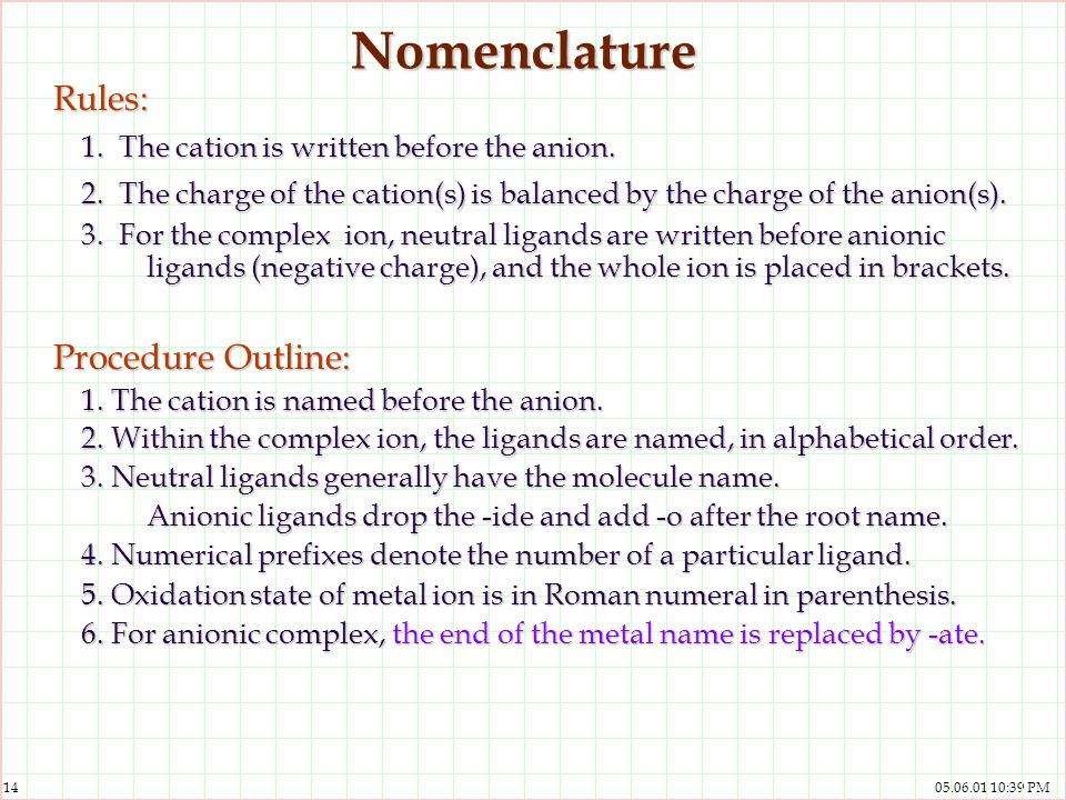 Nomenclature Rules: 1. The cation is written before the anion.