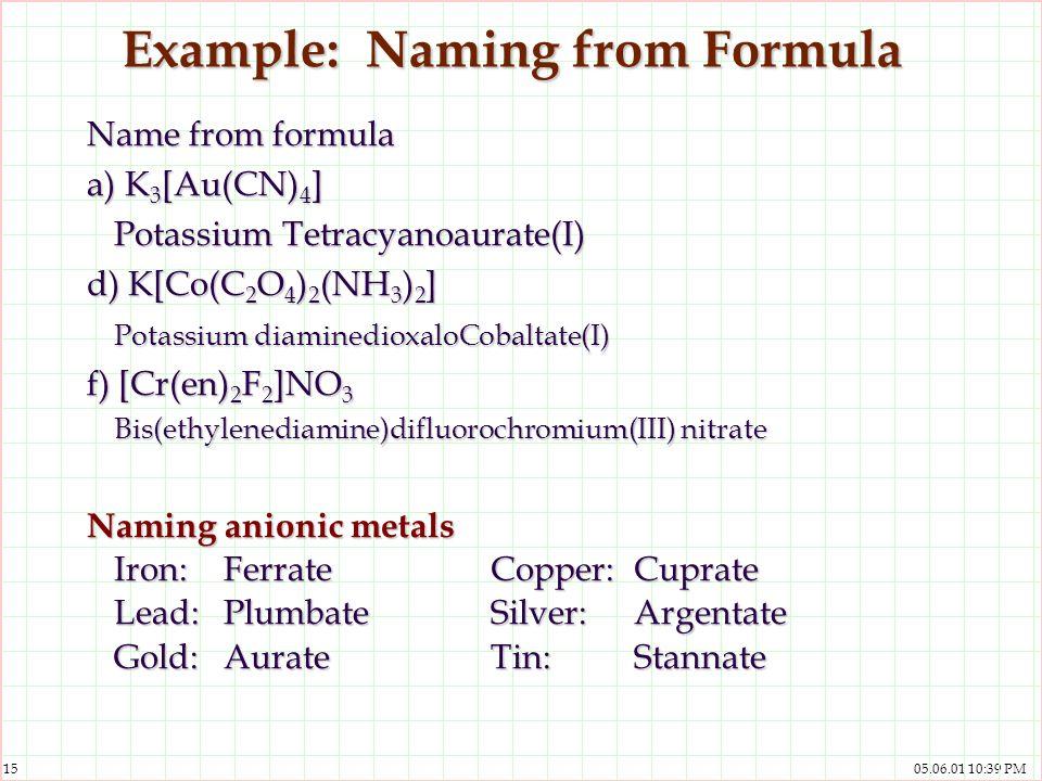Example: Naming from Formula