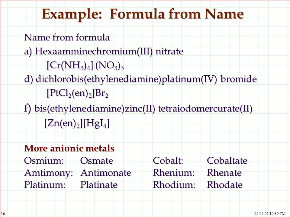Example: Formula from Name