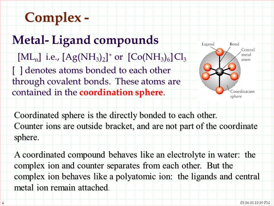 Complex - Metal- Ligand compounds