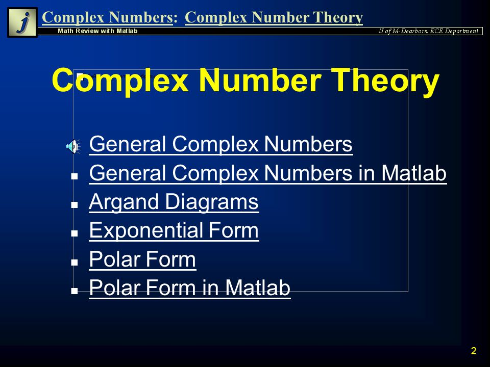 Complex Number Theory General Complex Numbers
