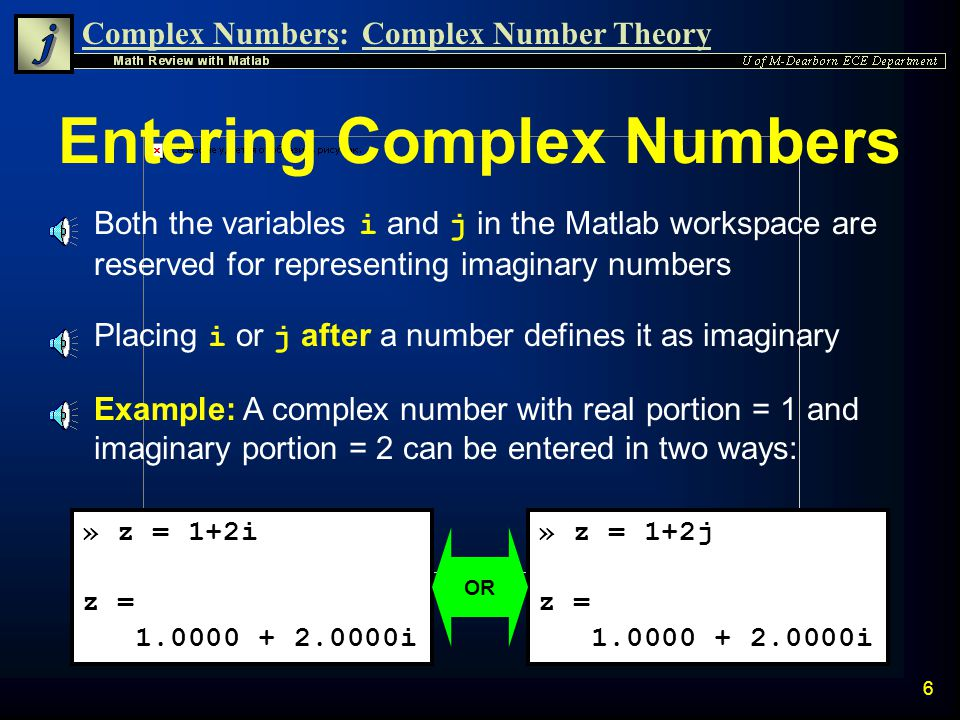Entering Complex Numbers