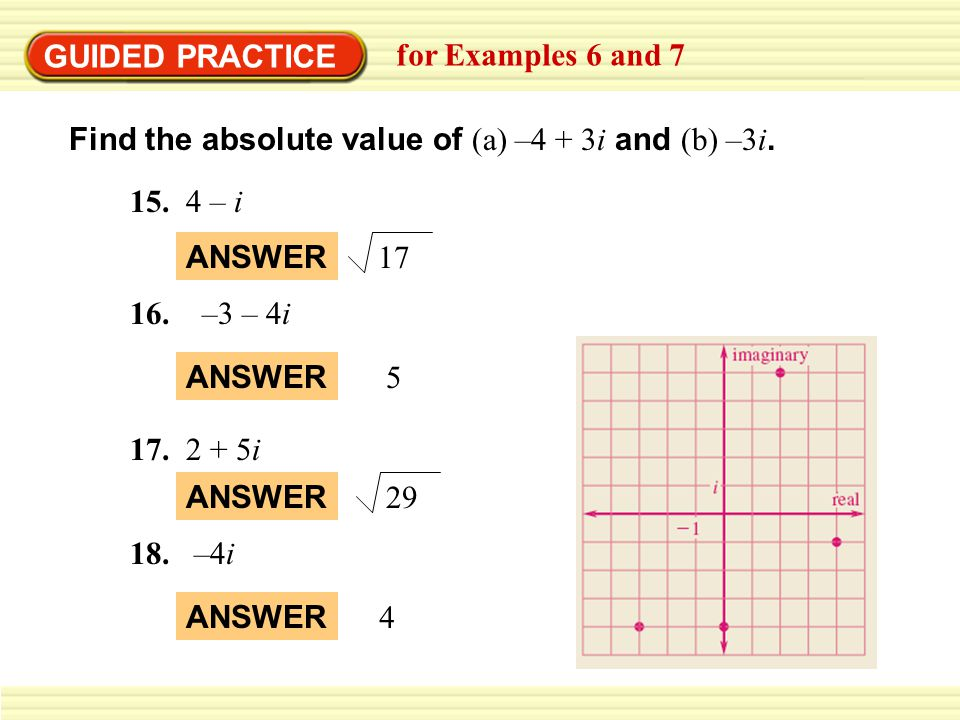 GUIDED PRACTICE for Examples 6 and 7. Find the absolute value of (a) –4 + 3i and (b) –3i – i.