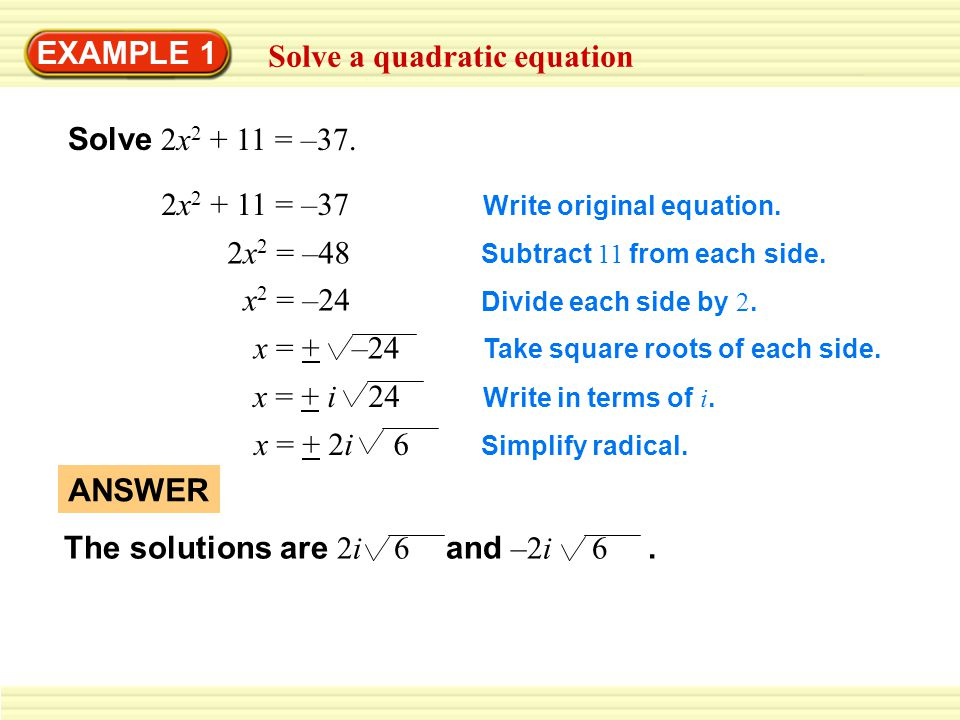 Solve a quadratic equation