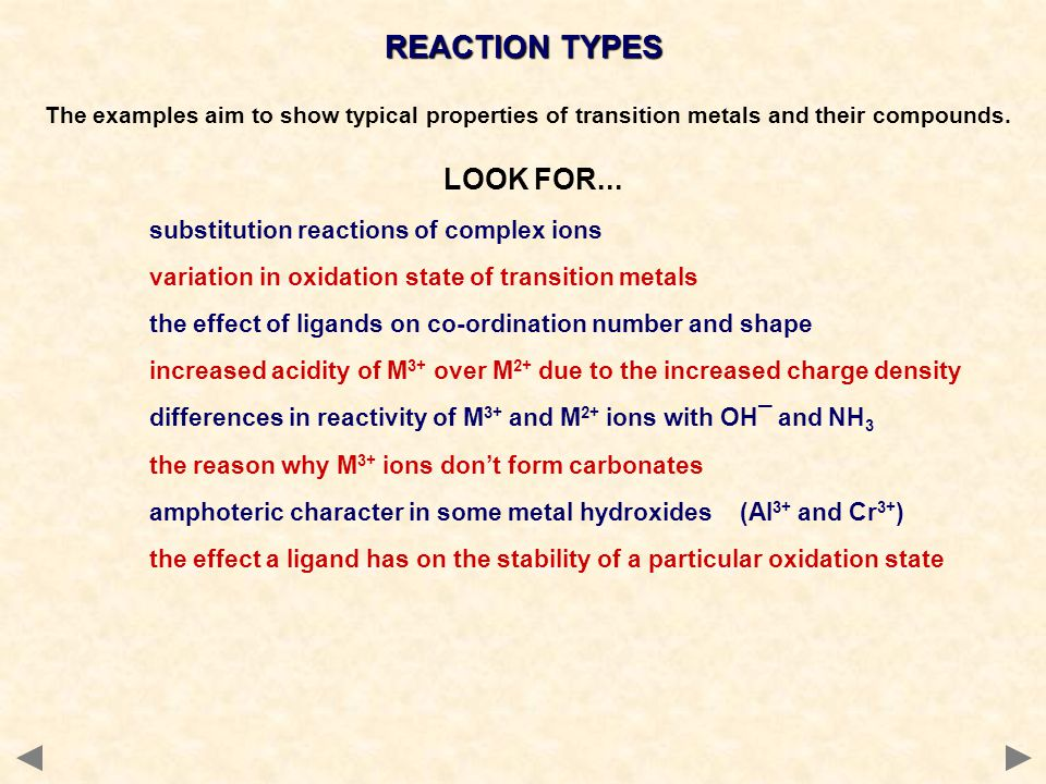 REACTION TYPES LOOK FOR...
