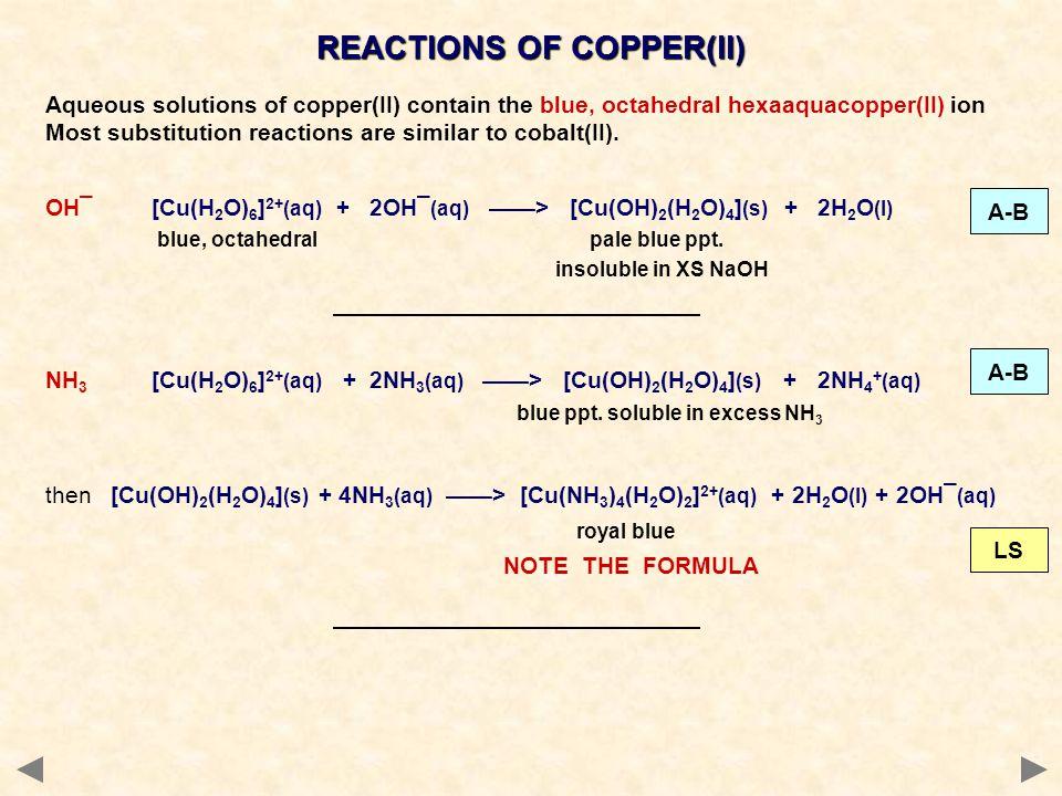 REACTIONS OF COPPER(II)