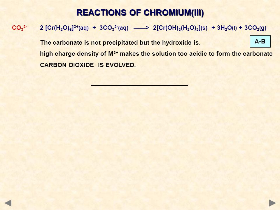 REACTIONS OF CHROMIUM(III)