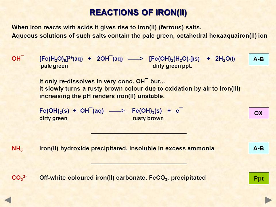 REACTIONS OF IRON(II) When iron reacts with acids it gives rise to iron(II) (ferrous) salts.