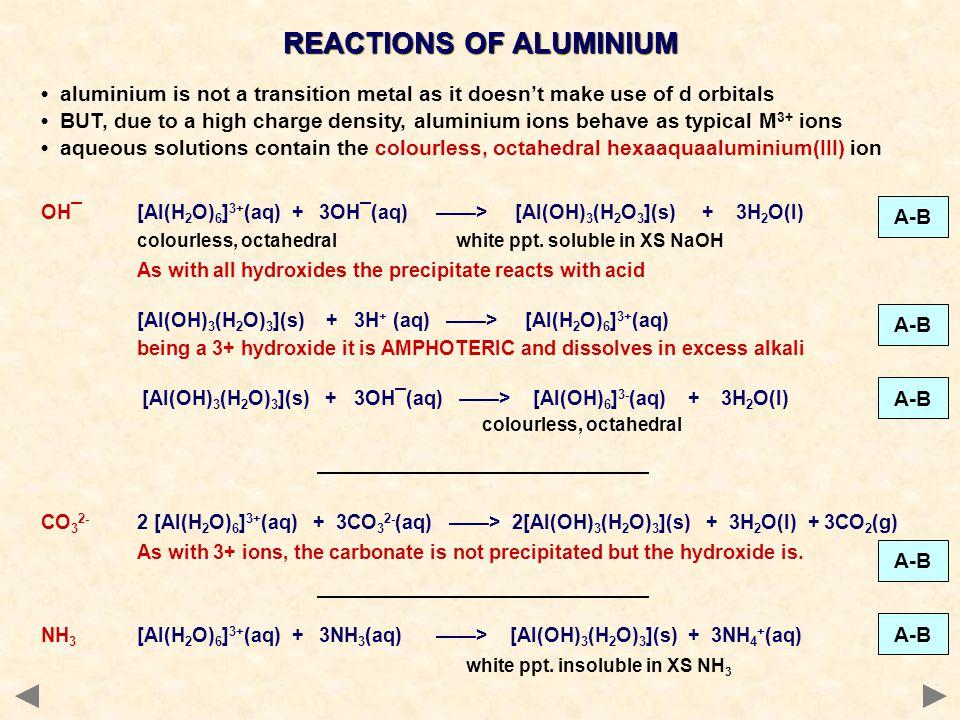 REACTIONS OF ALUMINIUM