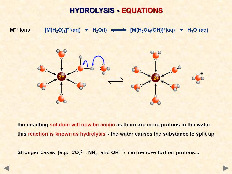 HYDROLYSIS - EQUATIONS