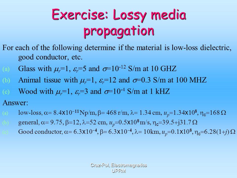 Exercise: Lossy media propagation