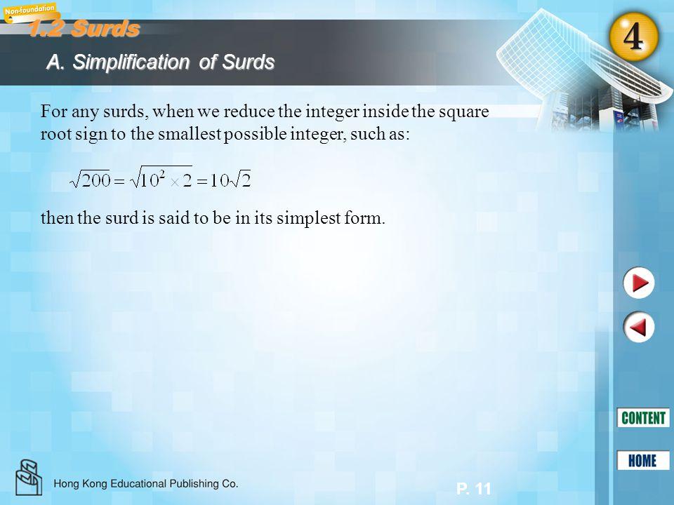 1.2 Surds A. Simplification of Surds