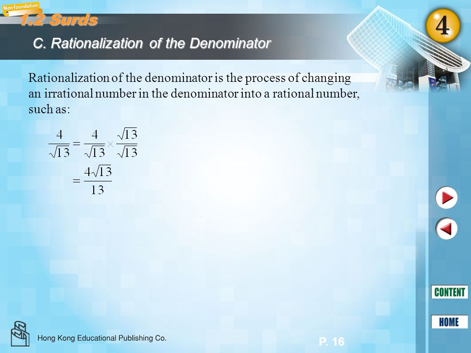 1.2 Surds C. Rationalization of the Denominator