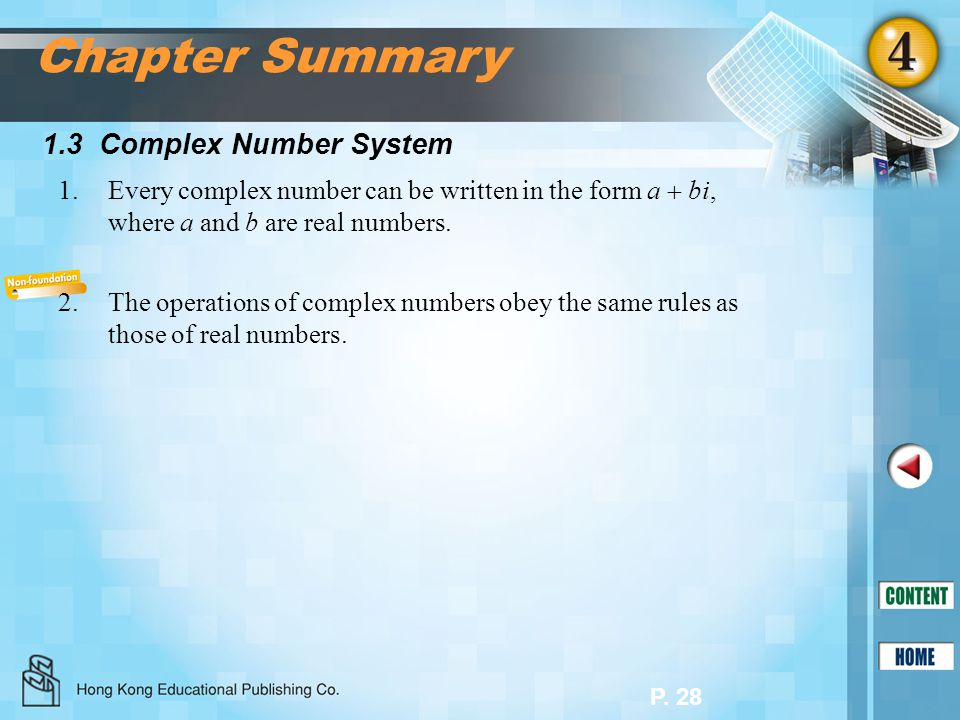 Chapter Summary 1.3 Complex Number System