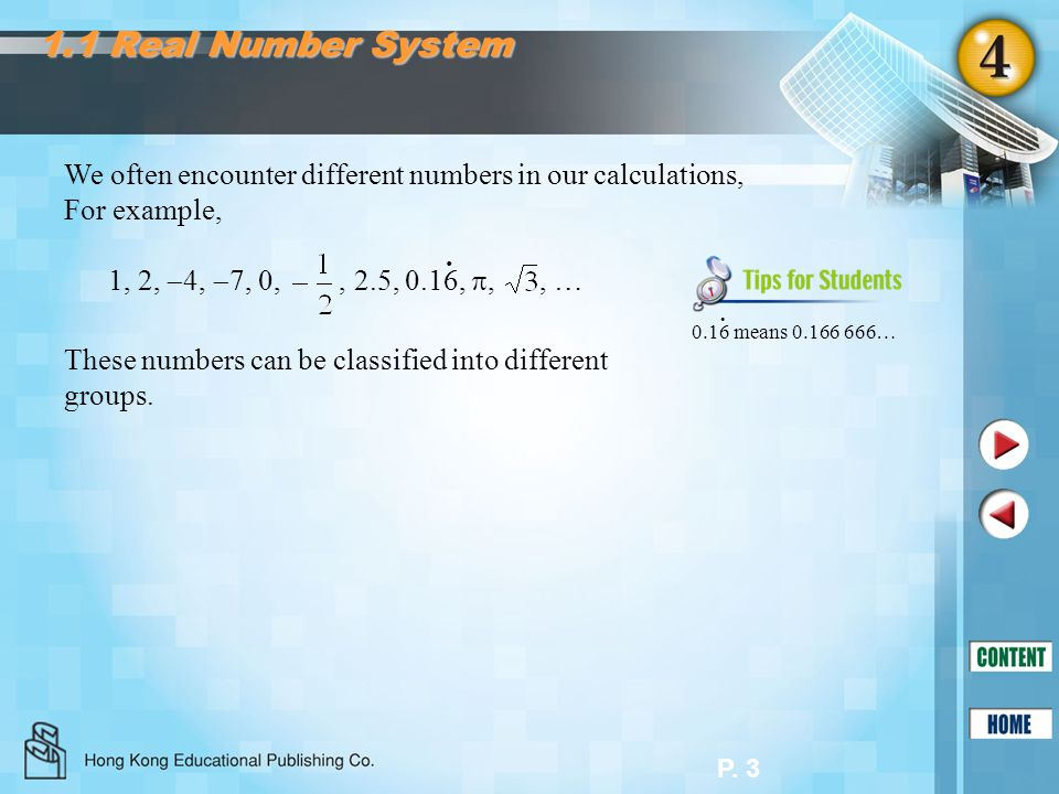 1.1 Real Number System We often encounter different numbers in our calculations, For example, 0.16 means 0.166 666…