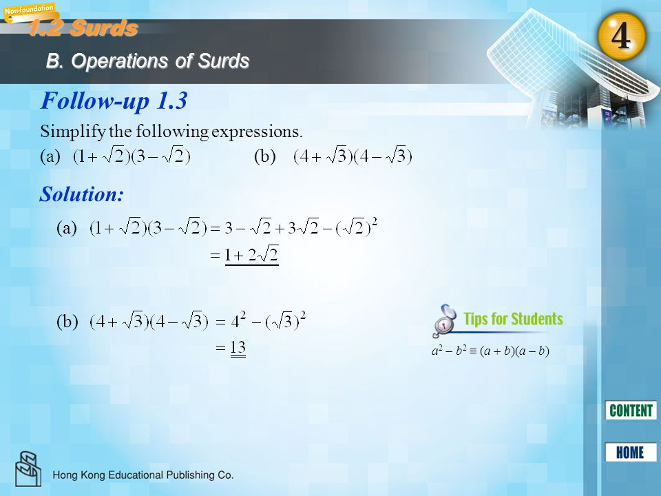Follow-up 1.3 1.2 Surds Solution: B. Operations of Surds