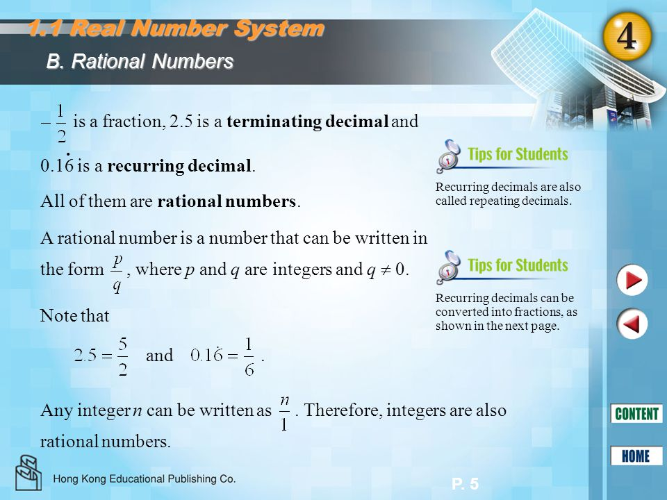 1.1 Real Number System B. Rational Numbers