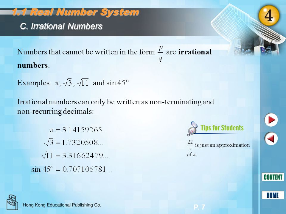 1.1 Real Number System C. Irrational Numbers