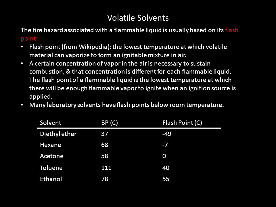 Volatile Solvents The fire hazard associated with a flammable liquid is usually based on its flash point: