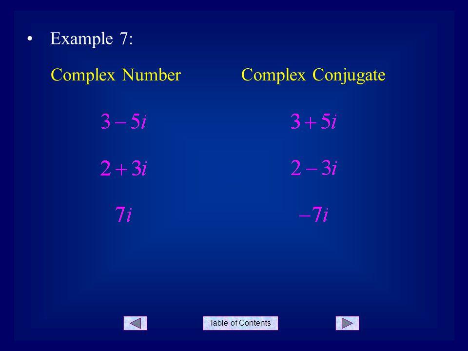 Example 7: Complex Number Complex Conjugate