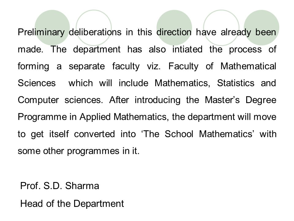 Prof. S.D. Sharma Head of the Department