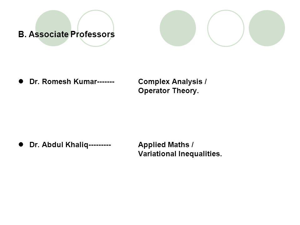 B. Associate Professors