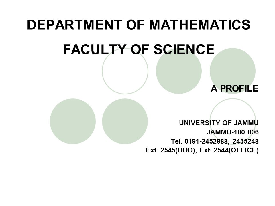 DEPARTMENT OF MATHEMATICS FACULTY OF SCIENCE