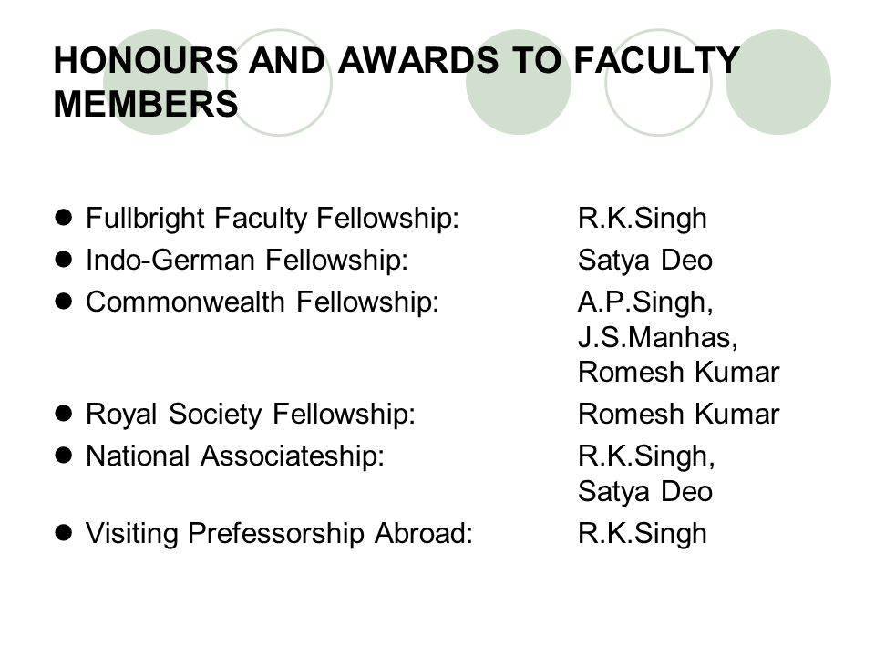 HONOURS AND AWARDS TO FACULTY MEMBERS