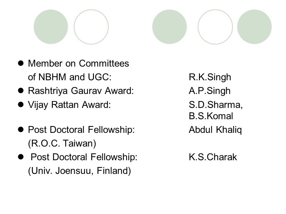 Member on Committees of NBHM and UGC: R.K.Singh. Rashtriya Gaurav Award: A.P.Singh. Vijay Rattan Award: S.D.Sharma, B.S.Komal.