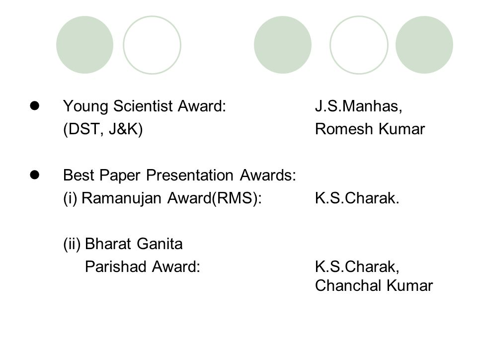 Young Scientist Award: J.S.Manhas,