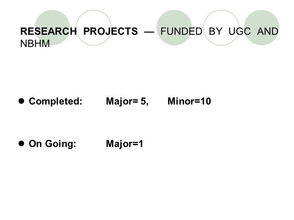 RESEARCH PROJECTS — FUNDED BY UGC AND NBHM