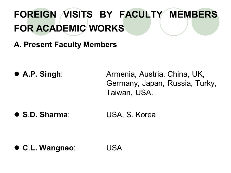 FOREIGN VISITS BY FACULTY MEMBERS FOR ACADEMIC WORKS