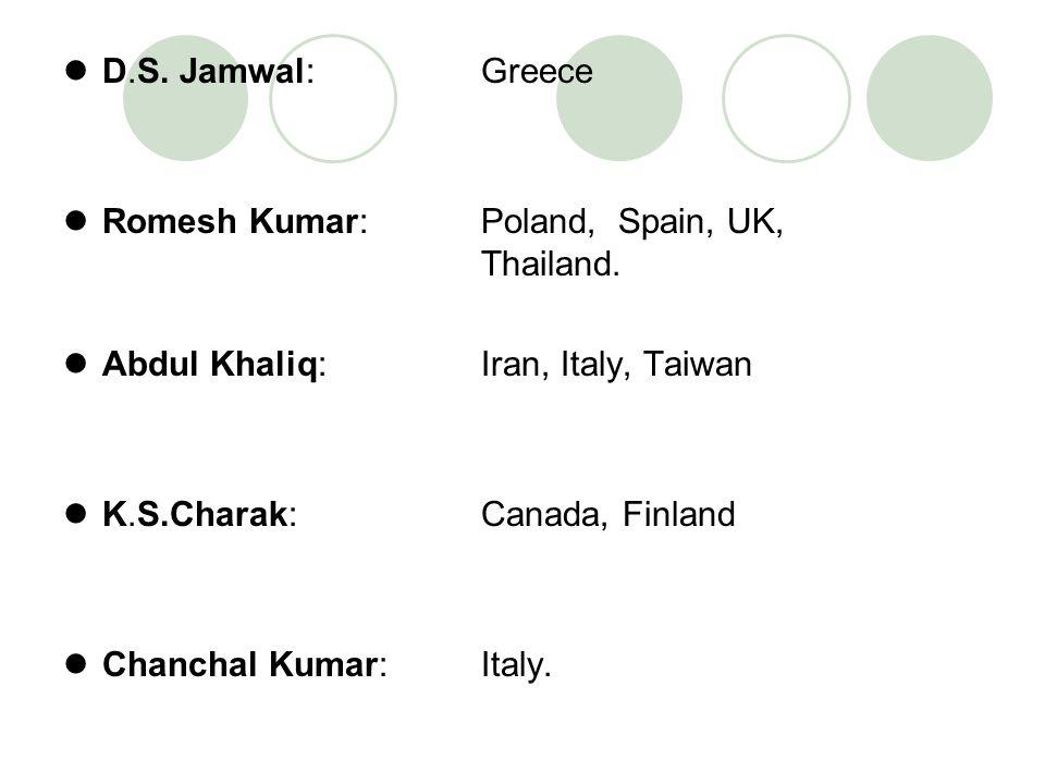 D.S. Jamwal: Greece Romesh Kumar: Poland, Spain, UK, Thailand. Abdul Khaliq: Iran, Italy, Taiwan.
