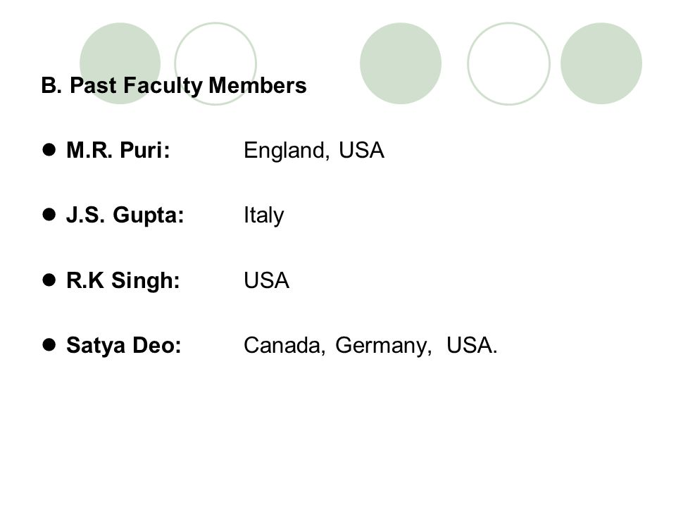 B. Past Faculty Members M.R. Puri: England, USA. J.S. Gupta: Italy. R.K Singh: USA.