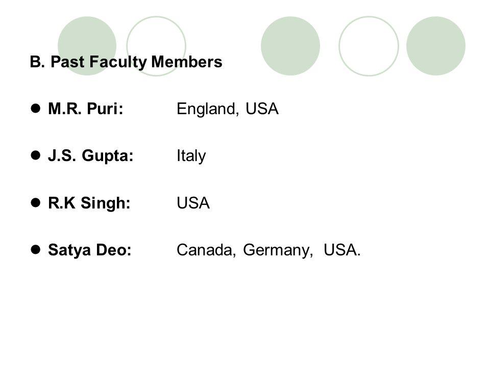 B. Past Faculty Members M.R. Puri: England, USA. J.S. Gupta: Italy. R.K Singh: USA.