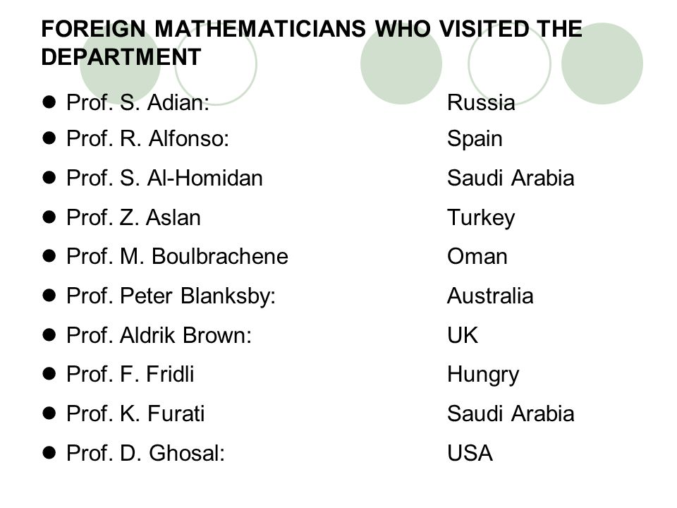 FOREIGN MATHEMATICIANS WHO VISITED THE DEPARTMENT