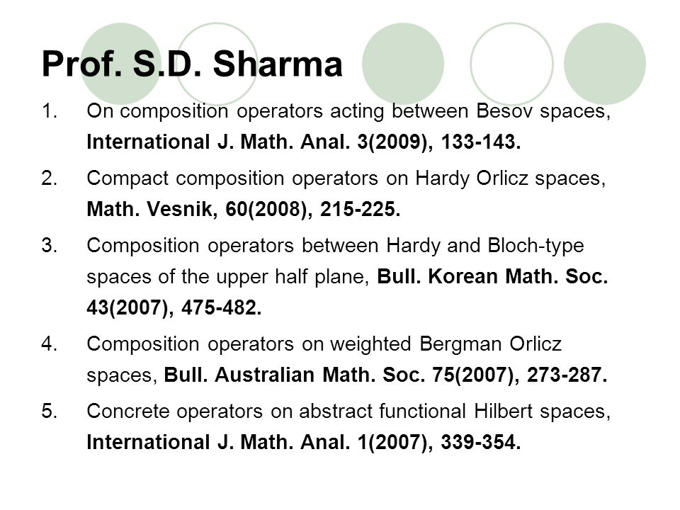 Prof. S.D. Sharma On composition operators acting between Besov spaces, International J. Math. Anal. 3(2009), 133-143.