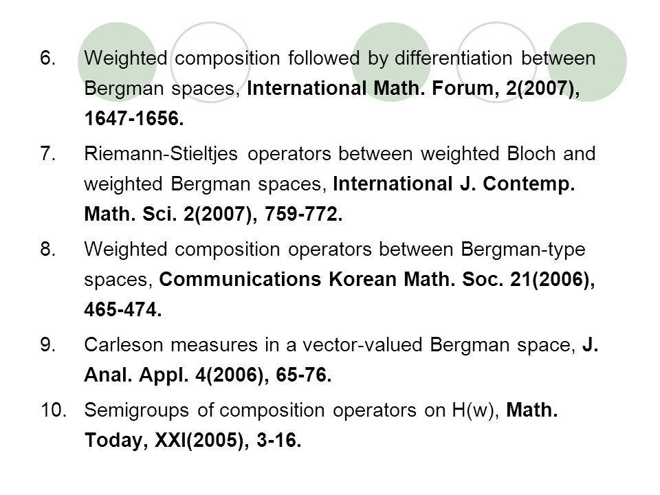 Weighted composition followed by differentiation between Bergman spaces, International Math. Forum, 2(2007), 1647-1656.