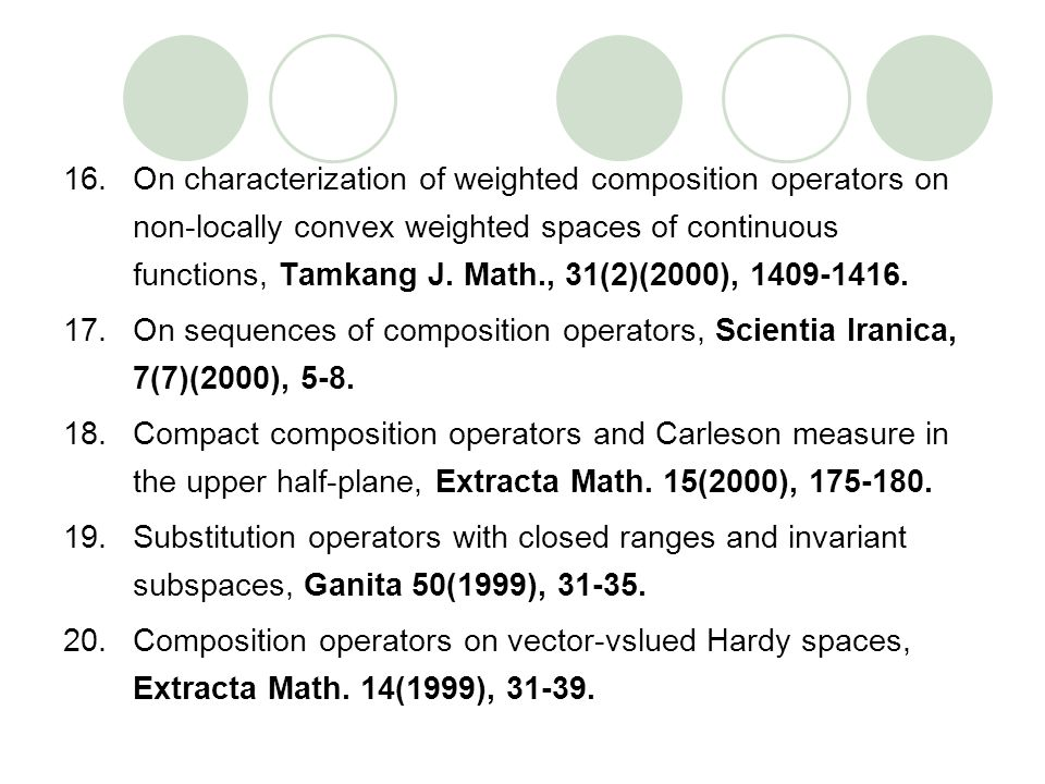 On characterization of weighted composition operators on non-locally convex weighted spaces of continuous functions, Tamkang J. Math., 31(2)(2000), 1409-1416.