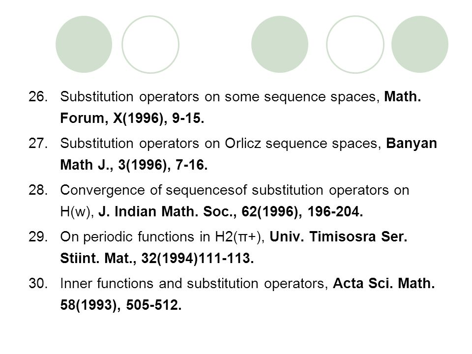 Substitution operators on some sequence spaces, Math