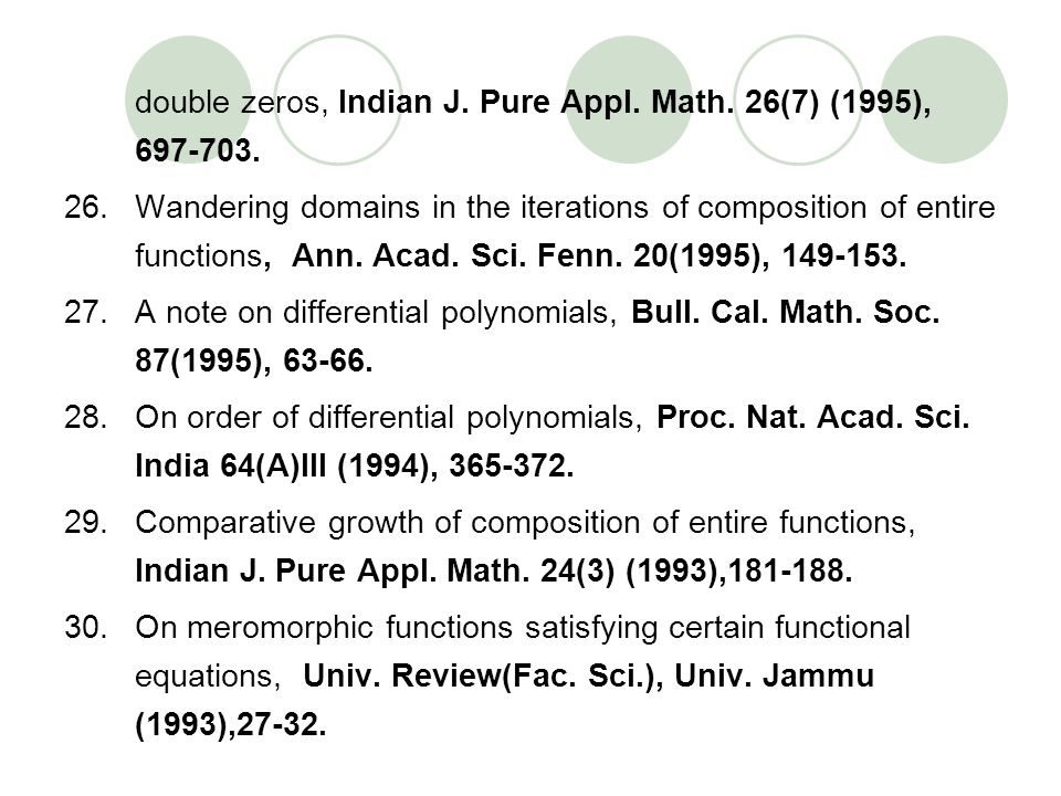 double zeros, Indian J. Pure Appl. Math. 26(7) (1995),