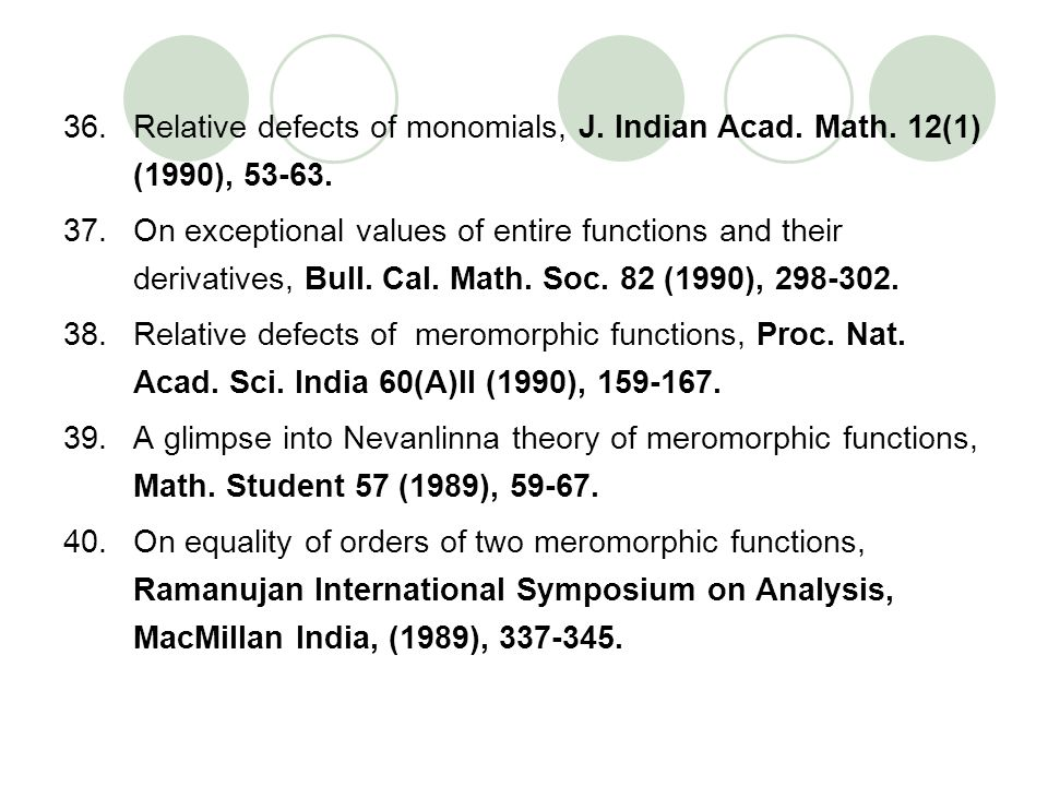 Relative defects of monomials, J. Indian Acad. Math