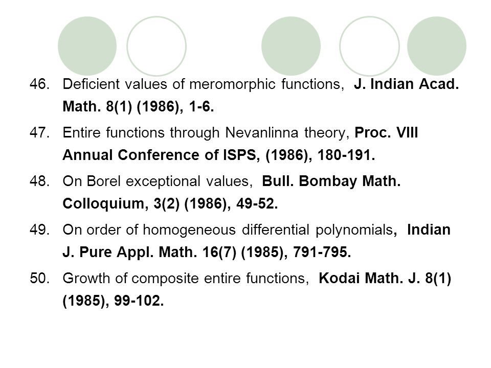 Deficient values of meromorphic functions, J. Indian Acad. Math