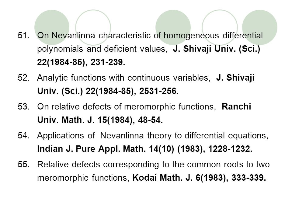 On Nevanlinna characteristic of homogeneous differential polynomials and deficient values, J. Shivaji Univ. (Sci.) 22(1984-85), 231-239.