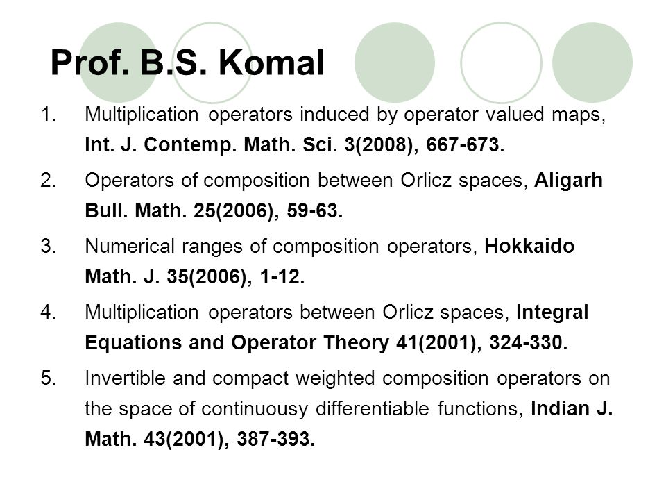 Prof. B.S. Komal Multiplication operators induced by operator valued maps, Int. J. Contemp. Math. Sci. 3(2008), 667-673.