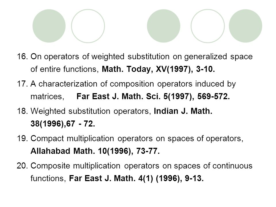 On operators of weighted substitution on generalized space of entire functions, Math. Today, XV(1997), 3-10.