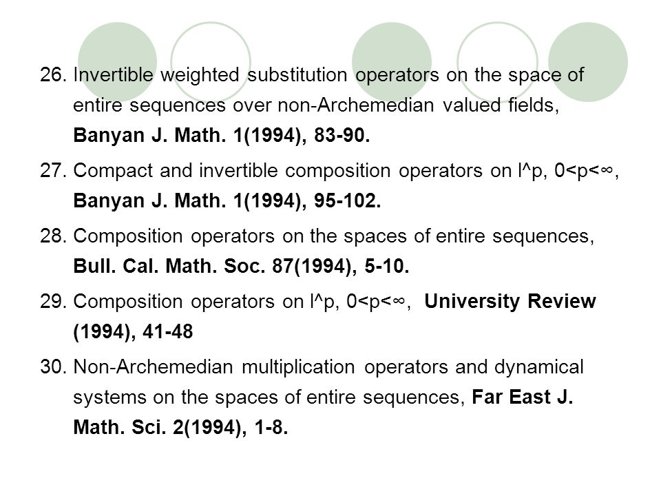 Invertible weighted substitution operators on the space of entire sequences over non-Archemedian valued fields, Banyan J. Math. 1(1994), 83-90.